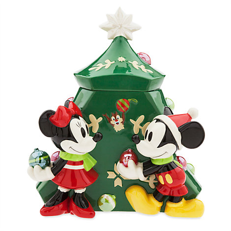 Mickey And Minnie Mouse Christmas Cookie Jar