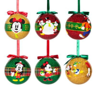 Mickey And Minnie Mouse Christmas Baubles, Set of 6