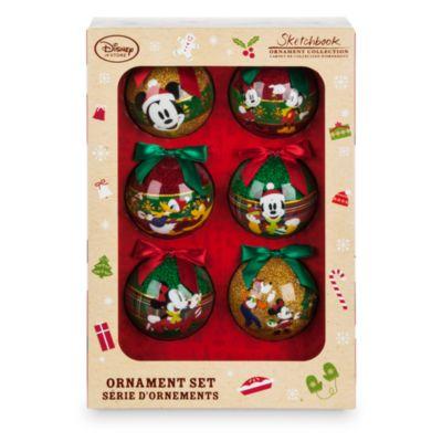 Mickey og Minnie Mouse julekugler, pakke med 6 stk.