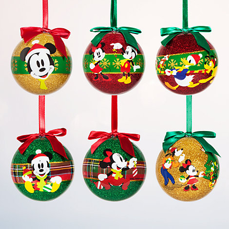 Ensemble de 6 boules de Noël Mickey et Minnie Mouse