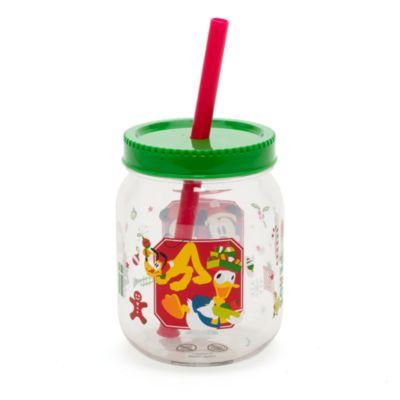 Taza navideña inspirada en tarro de mermelada con pajita Minnie y Mickey Mouse