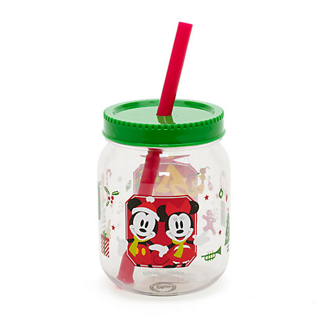 Gobelet « Jam Jar » (pot de confiture) Mickey et Minnie Mouse de fête avec paille