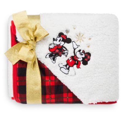 Micky und Minnie Maus - Weihnachtliche Fleece-Tagesdecke