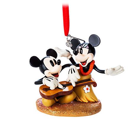 Mickey and Minnie Hawaii Hanging Ornament