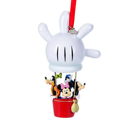 Mickey Mouse og venner i varmluftballon som julepynt til ophæng