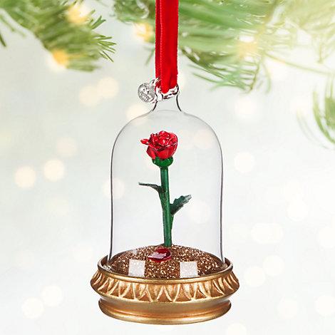 Skønheden og Udyret julepynt med rose