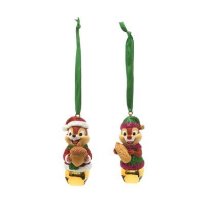 Set de 2 adornos colgantes festivos de Chip y Chop