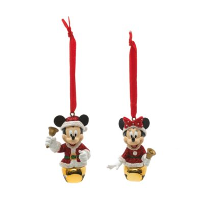 Mickey and Minnie Mouse Festive Hanging Ornaments