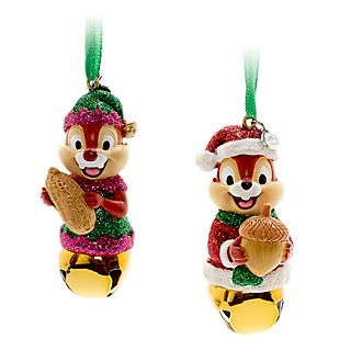 disney store chip n dale festive hanging ornaments - Disney Christmas Ornaments