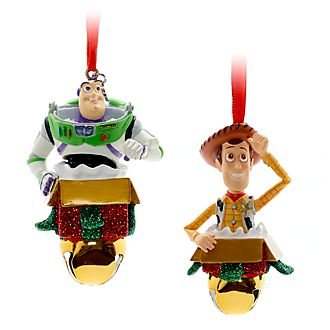 Disney Store Buzz and Woody Festive Hanging Ornaments