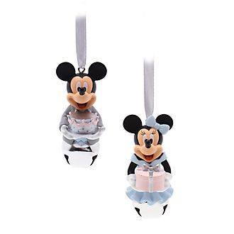 Disney Store Mickey and Minnie Festive Hanging Ornaments