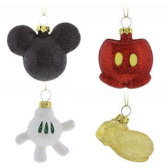 Disney Store Mickey Mouse Hanging Ornaments, Set of 4