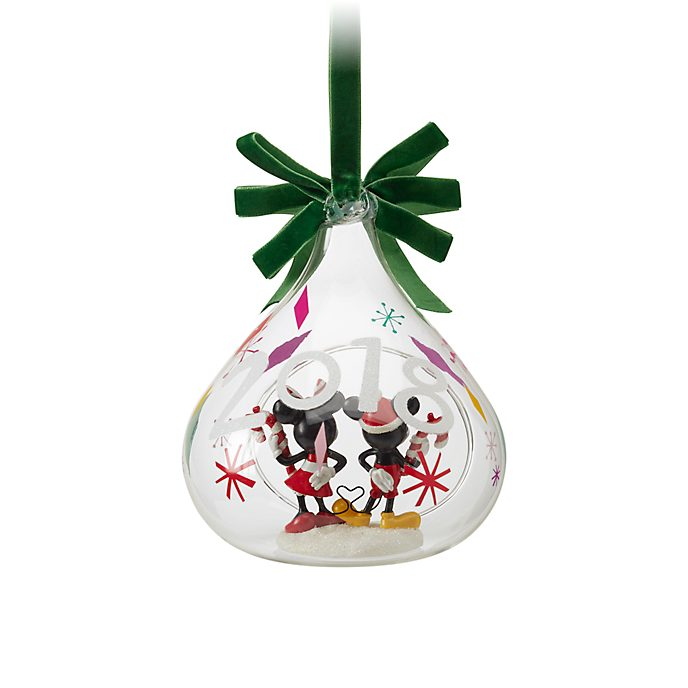 Disney Store Mickey and Minnie Open Globe Hanging Ornament