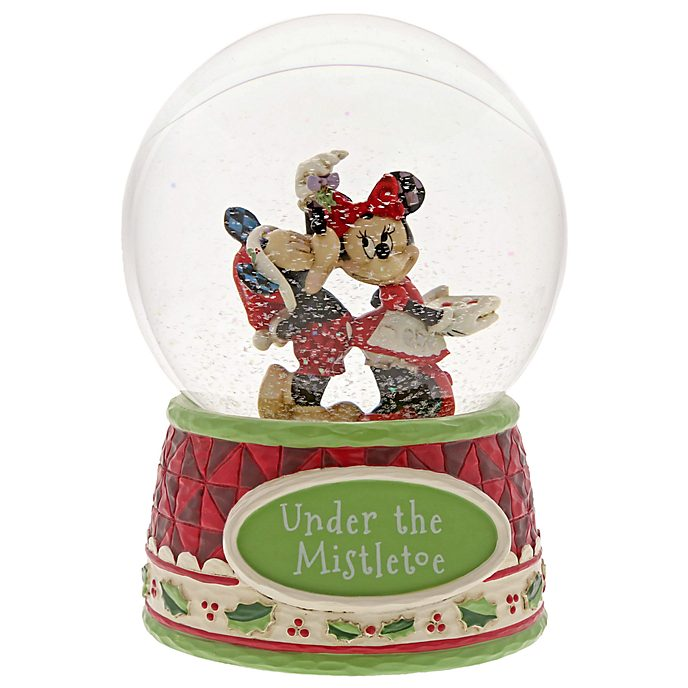 Disney Traditions Mickey and Minnie Mistletoe Snow Globe