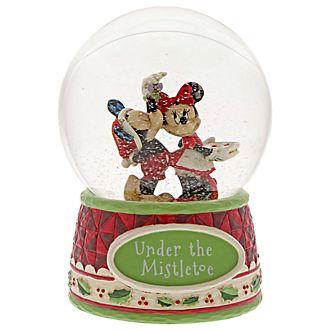 Disney Traditions Mickey and Minnie Mistletoe Snow Globe