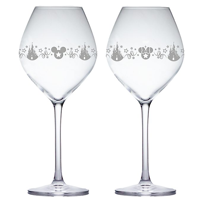 Arribas Mickey and Minnie Magnifique Wine Glasses, Set of 2
