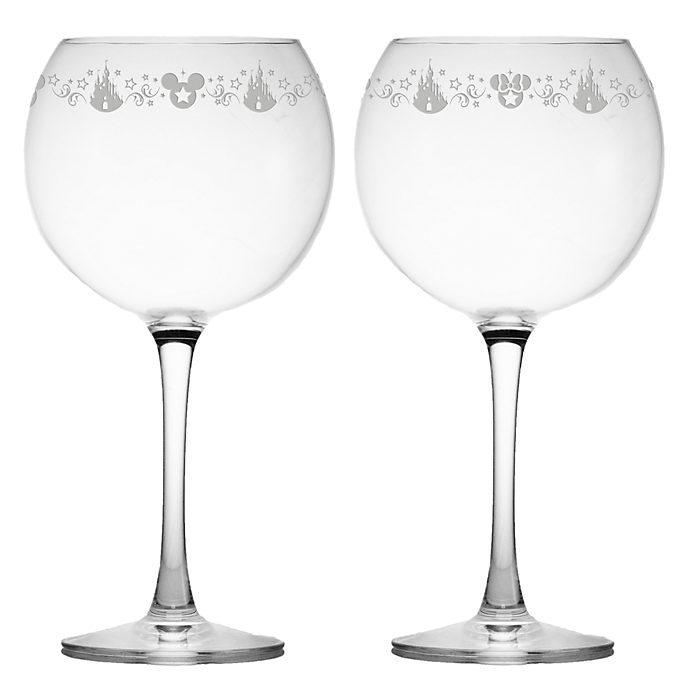 Arribas Mickey and Minnie Cabarnet Wine Glasses, Set of 2