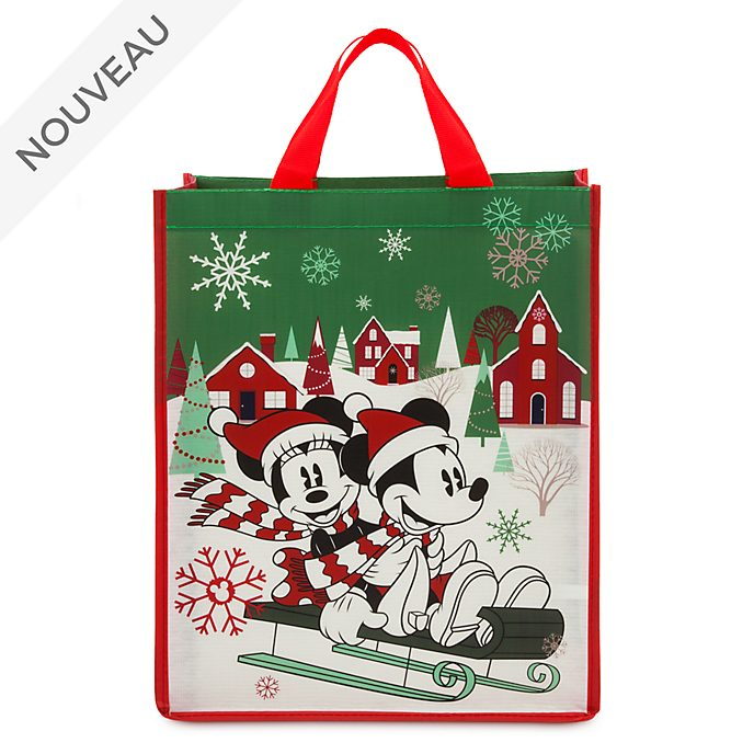 Disney Store Sac de shopping standard Mickey et Minnie, collection Holiday Cheer