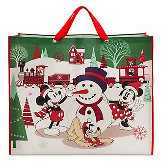 Disney Store Sac de shopping extra large Mickey et ses amis, collection Holiday Cheer
