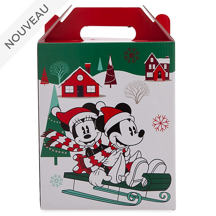 Disney Store Petite boîte cadeau Mickey et ses amis avec anse, collection Holiday Cheer