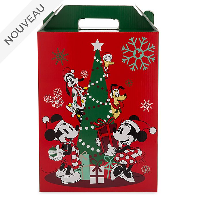 Disney Store Grande boîte cadeau Mickey et ses amis avec anse, collection Holiday Cheer