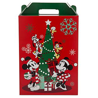 Caja de regalo grande con asa, Mickey y sus amigos, Holiday Cheer, Disney Store