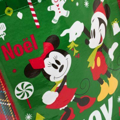 Bolsa navideña reutilizable Mickey y amigos (mediana)