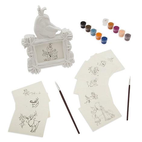 Ensemble cadre et images Joyeuses fêtes avec Olaf à peindre soi-même