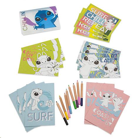 Ensemble crayons de couleur et cartes postales Stitch