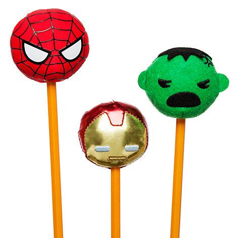 Cappucci per matita in peluche Marvel MXYZ, set di 3