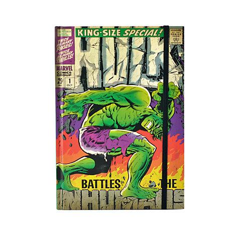 Cuaderno A5 con ilustración tipo cómic de Hulk en la tapa, Marvel