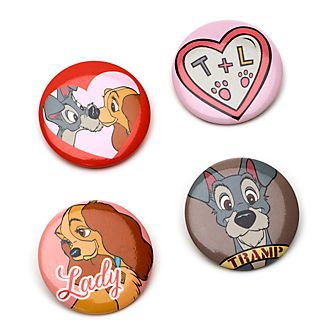 Disney Store Lady and the Tramp Pin Badges