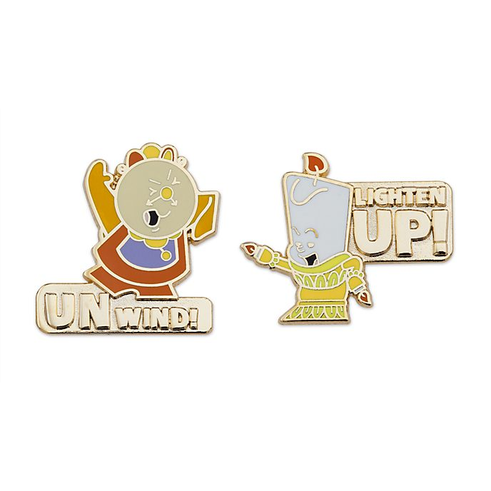 Disney Store Cogsworth and Lumiere Pin Set