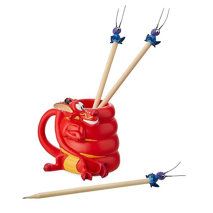 Disney Store Mushu and Cri-Kee Pencil Holder and Pencils, Mulan