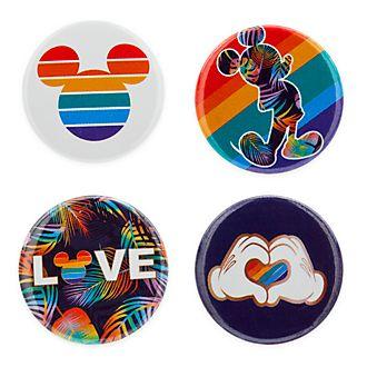 Disney Store Mickey Mouse Rainbow Disney Badges, Set of 4