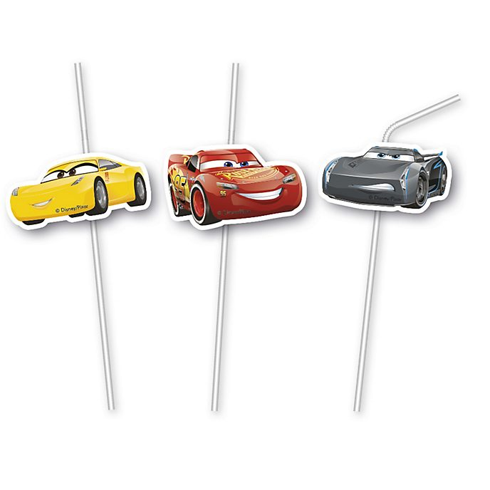 Lot de 6 pailles flexibles Disney Pixar Cars 3