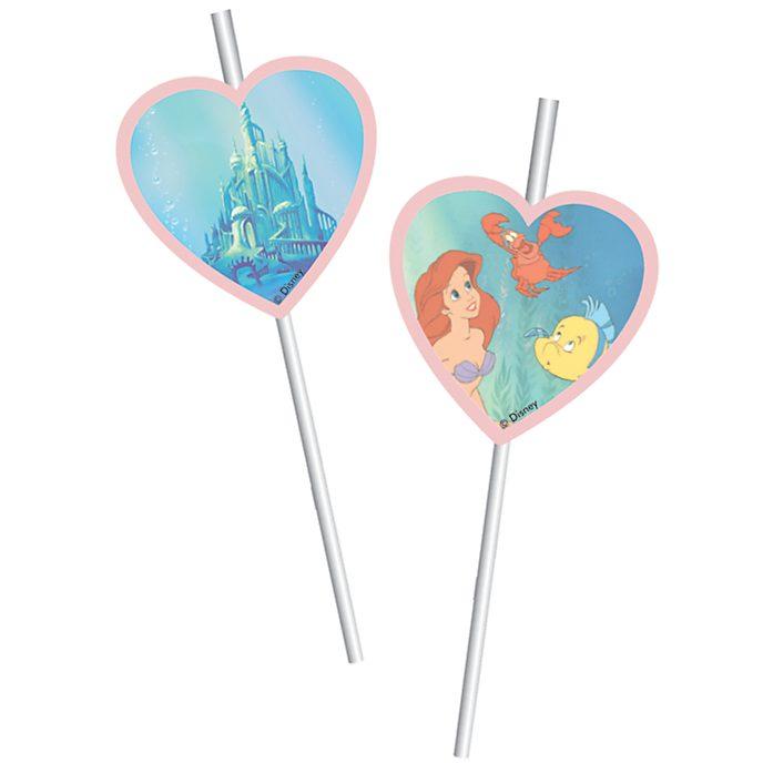 Walt Disney World The Little Mermaid 6x Bendy Straws Set