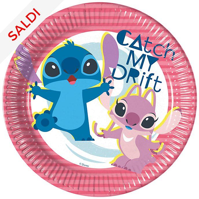 Stitch e Angel, 8 piatti di carta