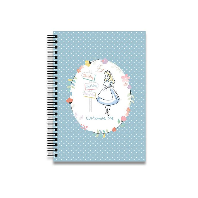 Alice in Wonderland Blue Dots A4 Notebook