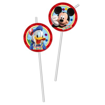 Lot de 6 pailles flexibles Mickey Mouse