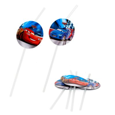 Disney Pixar Cars 6x Bendy Straws