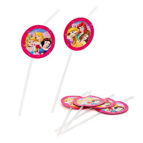 Lot de 6 pailles flexibles Princesses Disney