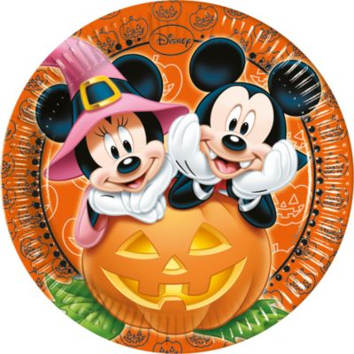 Platos fiesta Mickey y Minnie Halloween (8 u.)