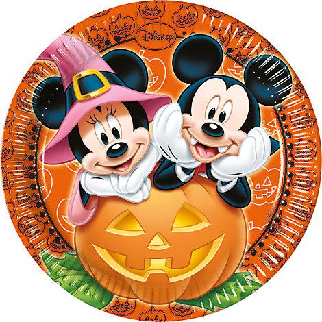 Lot de 8 assiettes de fête Halloween Mickey et Minnie Mouse