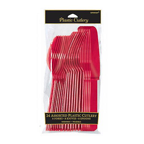 Cubertería color rojo (24 u.)