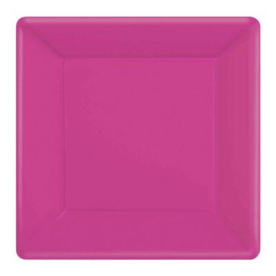 Rosa 20x fyrkantiga partytallrikar