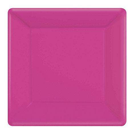 Lot de 20 assiettes de fête carrées roses