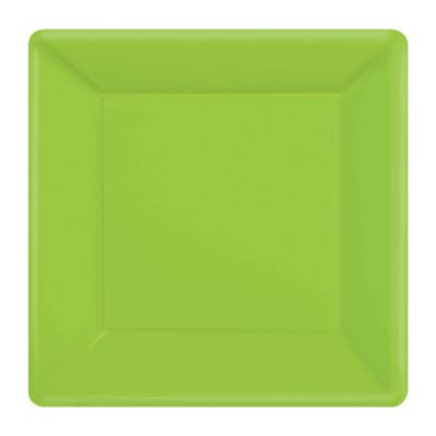Green 20x Square Party Plates Set