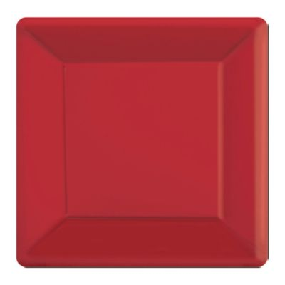 Red 20x Square Party Plates Set