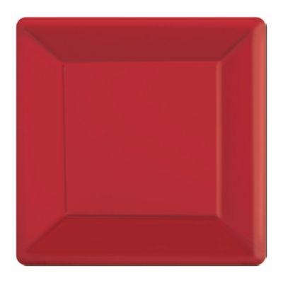 Lot de 20 assiettes de fête carrées rouges
